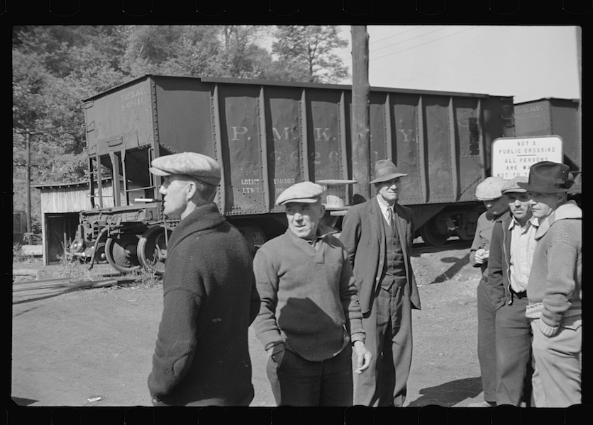 Ben Shahn, Striking miners, Scotts Run, West Virginia, 1935
