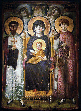 "Virgin (Theotokos) and Child between Saints Theodore and George, sixth or early seventh century, encaustic on wood, 2' 3"" x 1' 7 3/8"" (St. Catherine's Monastery, Sinai, Egypt)"