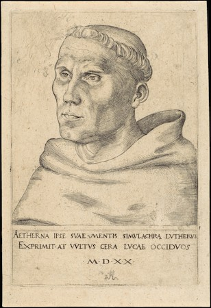 Lucas Cranach the Elder, Martin Luther as an Augustinian Monk, 1520, engraving, 6-1/4 x 4-3/16 (The Metropolitan Museum of Art)