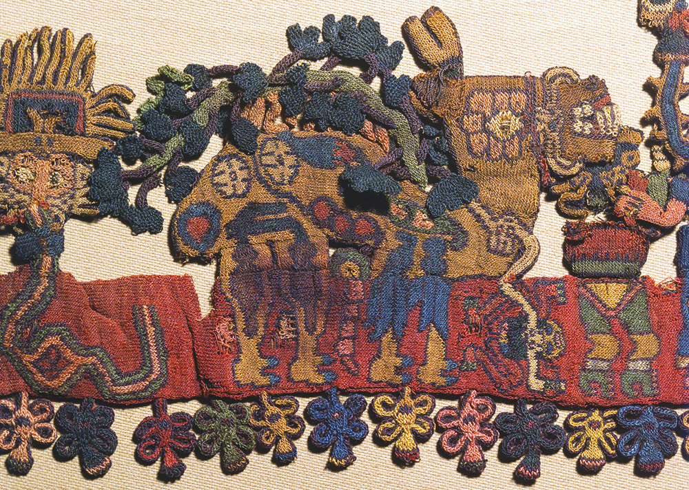 "Border figure 26, Nasca, Mantle (""The Paracas Textile""), 100-300 C.E., cotton, camelid fiber, 58-1/4 x 24-1/2 inches / 148 x 62.2 cm, found South Coast, Paracas, Peru (Brooklyn Museum)"