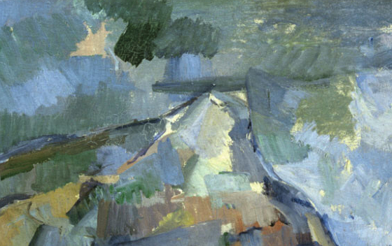 Detail, Paul Cézanne, Mont Sainte-Victoire, 1902-04, oil on canvas,  73 x 91.9 cm (Philadelphia Museum of Art)