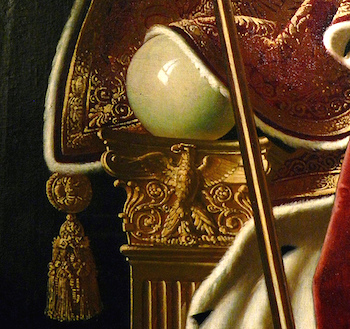 Armrest with eagle and ivory sphere (detail), Ingres, Napoleon on his Imperial Throne, 1806, oil on canvas, 260 x 163 cm (Musée de l'Armée, Paris)
