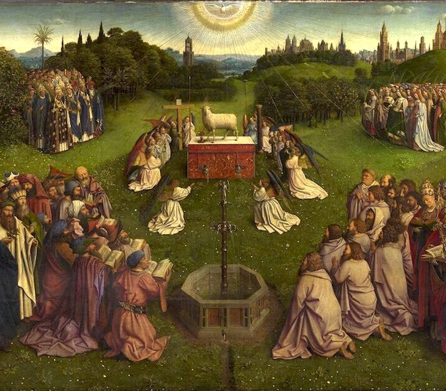 Adoration of the Mystic Lamb, detail, Jan van Eyck, Ghent Altarpiece, completed 1432, oil on wood, 11 feet 5 inches x 15 feet 1 inch (open), Saint Bavo Cathedral, Ghent, Belgium (photo: Closer to Van Eyck)
