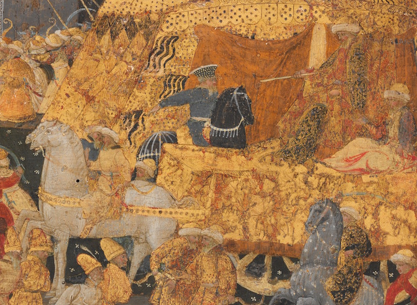 Mehmed II seated on a triumphal chariot pulled by two white horses (detail of front panel), Marco del Buono Giamberti and Apollonio di Giovanni di Tomaso, Cassone with the Conquest of Trebizond, 1460s, tempera, gold and silver on wood, 9 1/2 x 77 x 32 7/8 inches / 100.3 x 195.6 x 83.5 cm (The Metropolitan Museum of Art)