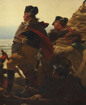 Washington (detail), Emanuel Leutze, Washington Crossing the Delaware, 1851, oil on canvas, 378.5 x 647.7 cm (Metropolitan Museum of Art)