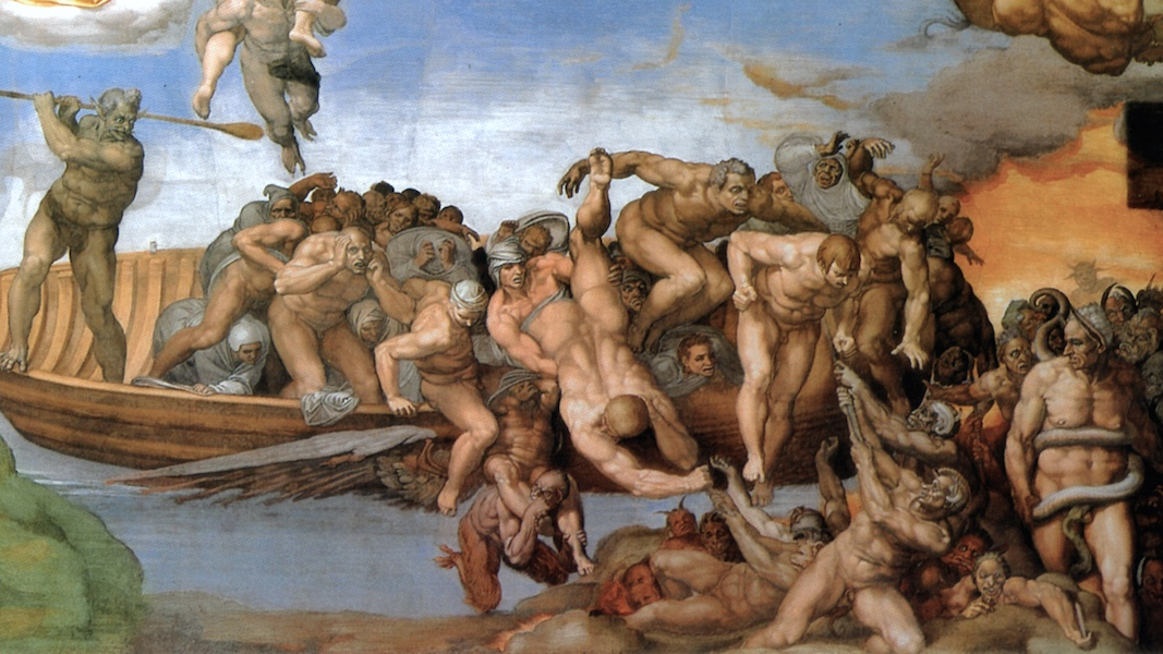 Charon drives the damned onto hell's shores and in the lower right corner stands the ass-eared Minos (detail), Michelangelo, Last Judgment, Sistine Chapel, altar wall, fresco, 1534-1541 (Vatican City, Rome)