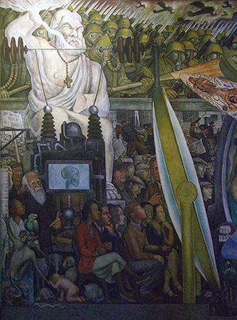 Brutalities of WWI, including poison gas and machine guns (detail), Diego Rivera, Man, Controller of the Universe, 1934 (Palacio de Bellas Artes, Mexico City) (photo: Peter Van Eynde, CC BY-NC-ND 2.0)