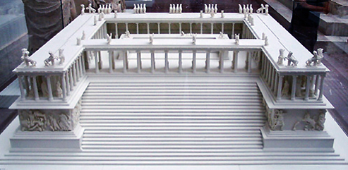 Model of the Pergamon Altar (Altar of Zeus), c. 200-150 B.C.E. (Pergamon Museum, Berlin) (photo: Steven Zucker, CC BY-NC-SA 2.0)