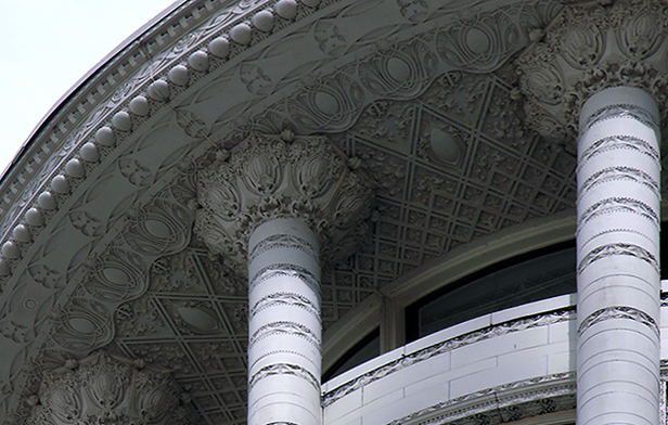 Reconstructed cornice detail, Louis Sullivan, Carson, Pirie, Scott Building, 1899 and 1903-04, Chicago