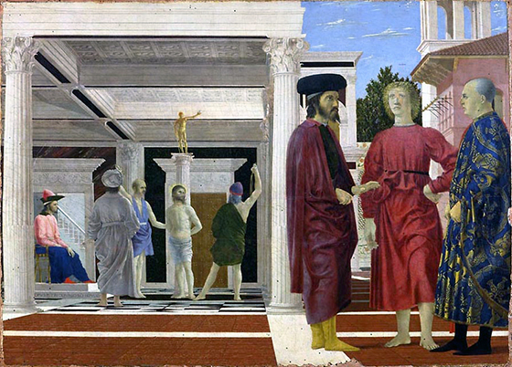 Piero della Francesca, Flagellation of Christ, c. 1455-65, oil and tempera on wood, 58.4 × 81.5 cm (Galleria Nazionale delle Marche, Urbino)