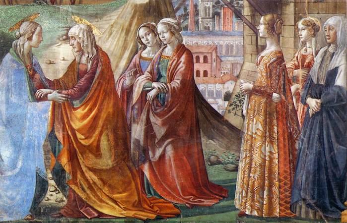 Left to right: Mary, Elizabeth, two attendants, Giovanna Tornabuoni, and two more attendants (detail), Domenico Ghirlandaio, The Visitation, c. 1485-90, fresco (Cappella Maggiore,Santa Maria Novella, Florence)