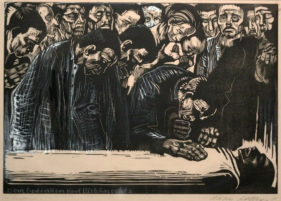 Käthe Kollwitz, Memorial Sheet of Karl Liebknecht (Gedenkblatt für Karl Liebknecht), 1919-1920, Woodcut heightened with white and black ink, 37.1 × 51.9 cm (Art Institute of Chicago)