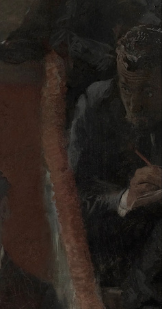 Self-portrait (detail), Thomas Eakins, The Gross Clinic, 1875, oil on canvas 