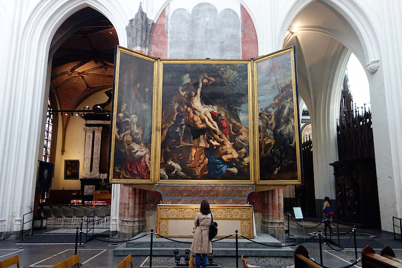 Peter Paul Rubens, Elevation of the Cross, from Saint Walburga, 1610, oil on wood, center panel: 15 feet 1-7/8 inches x 11 feet 1-1/2 inches (now in Antwerp Cathedral)