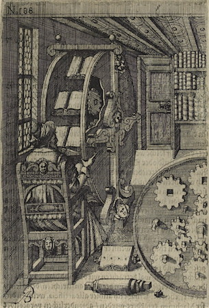 Book wheel, Agostino Ramelli, Diverse et artificiose machine, [Leipzig] Durch Henning Grossen den Jüngern, 1620 (first published 1588), p. 440.