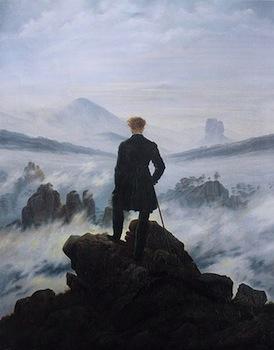 "Caspar David Friedrich, Wanderer above the Sea of Fog, 1818, oil on canvas, 37.3 × 29.4"" / 98.4 cm × 74.8 cm (Kunsthalle Hamburg, Hamburg, Germany)"