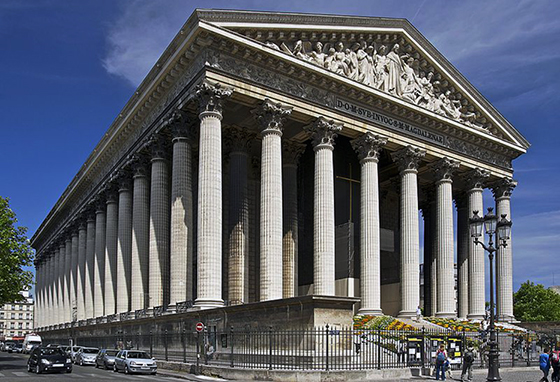 Pierre-Alexandre Barthélémy Vignon, completed by Jacques-Marie Huvé, Church of La Madeleine, 1807-45, 108m long x 43 m, Place de la Madeleine (Paris, France)