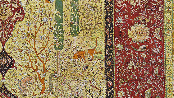 Detail, Safavid court carpet with animals and hunting scenes (Musée des arts décoratifs, Paris)
