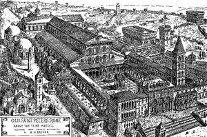 H.W. Brewer, drawing of Old St. Peter's Basilica as it appeared between 1475 and 1483, 1891