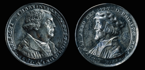 Silver medal of Martin Luther and Philip Melancthon, 1545, 4 cm diameter, © Trustees of the British Museum.