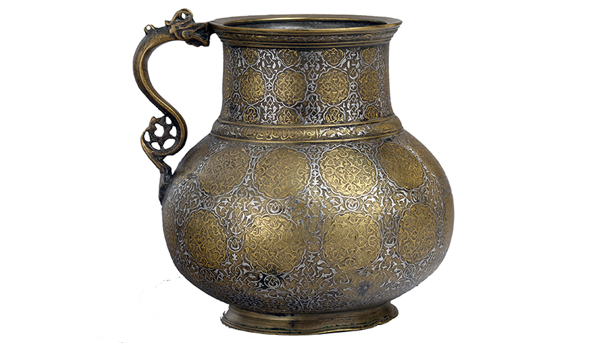 "Dragon-handled ewer with inscription, late 15th– first quarter 16th century (present-day Afghanistan, probably Herat), metal, 14.3 x 15.6 x 8.6"" (photo: The Metropolitan Museum of Art)"