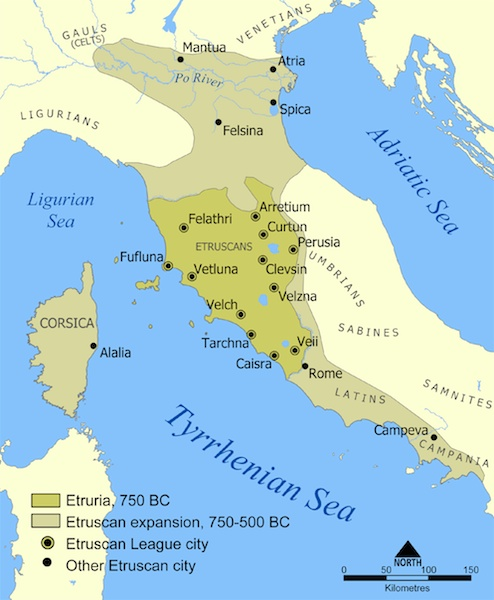 Etruscan civilization map (CC BY-SA 3.0), NormanEinstein - Based on a map from The National Geographic Magazine Vol.173 No.6 June 1988.