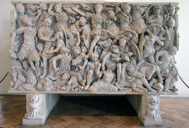 Ludovisi Battle Sarcophagus: Battle of Romans and Barbarians, c. 250-260 C.E., preconneus marble, 150 cm high (Palazzo Altemps: Museo Nazionale Romano, Rome).