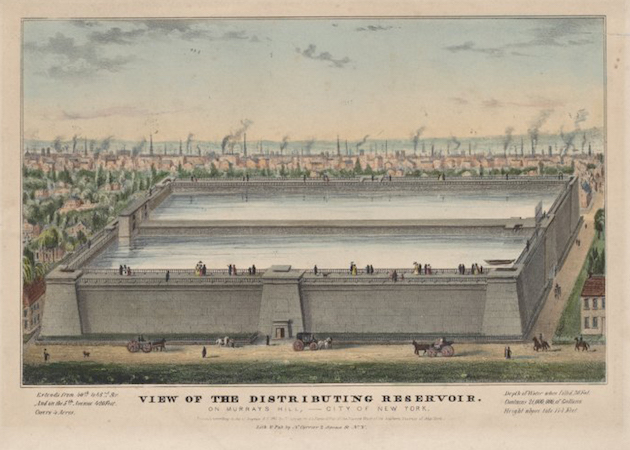 Nathaniel Currier, View of the Croton Distributing Reservoir, 1842, lithograph