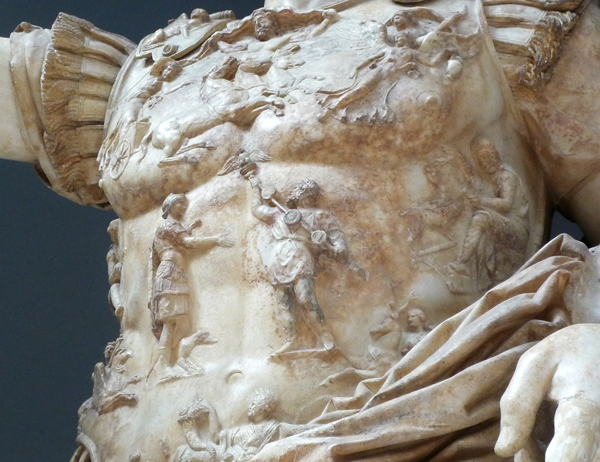 Detail of figures on breastplate, Augustus of Primaporta, 1st century C.E., marble, 2.03 meters high (Vatican Museums)