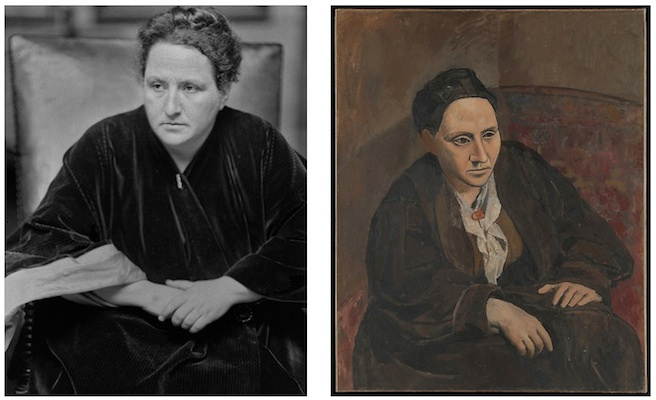 (L) Alvin Langdon Coburne, Photograph of Gertrude Stein, 1913 (George Eastman House Collection);  (R) Pablo Picasso, Portrait of Gertrude Stein, 1905-06, oil on canvas, 39 3/8 x 32 inches (100 x 81.3 cm) (The Metropolitan Museum of Art, New York)
