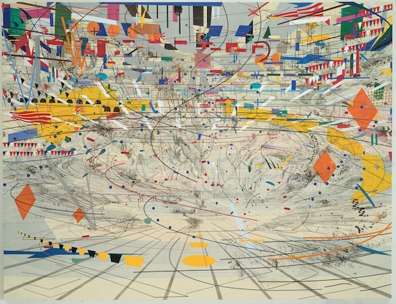 "Julie Mehretu, <em>Stadia II</em>, 2004, ink and acrylic on canvas, 108 x 144"" (Carnegie Museum of Art, Pittsburgh) (© Julie Mehretu)"