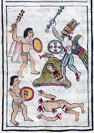 Illustration of the Battle of Coatepec from Bernardino de Sahagún, General History of the Things of New Spain (The Florentine Codex), 1575–77, volume 1, page 420
