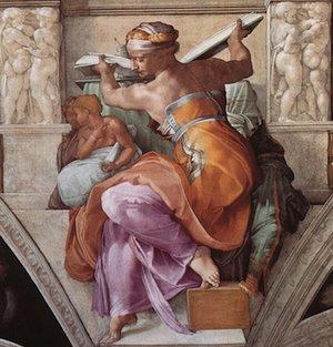 Michelangelo, Libyan Sibyl, Sistine Chapel Ceiling, 1508-12, fresco (Vatican City, Rome)