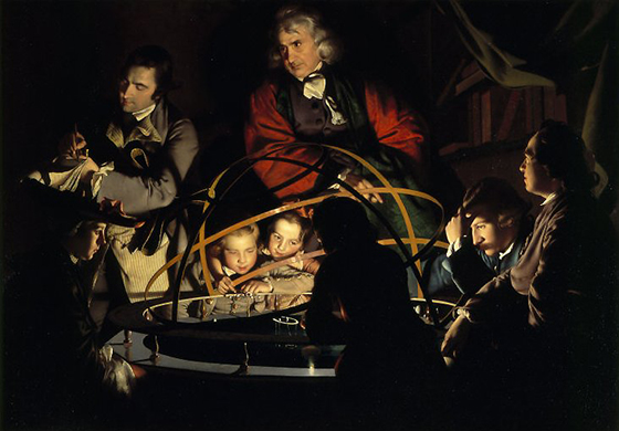 "Joseph Wright of Derby, A Philosopher Giving a Lecture at the Orrery (in which a lamp is put in place of the sun), c. 1763-65, oil on canvas, 4' 10"" x 6' 8"" (Derby Museums and Art Gallery, Derby)"