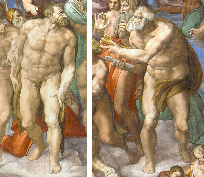 Left: St. John the Baptist; right: St. Peter (detail), Michelangelo, Last Judgment, altar wall, Sistine Chapel, fresco, 1534-1541 (Vatican City, Rome)