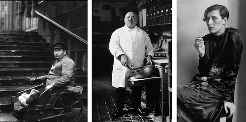 August Sander, Disabled Man, 1926 (Left); Pastry Chef, 1928 (Center); Secretary at a Radio Station, Cologne, 1931 (Right)
