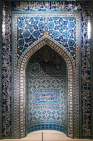 Mihrab, 1354–55, just after the Ilkhanid period, Madrasa Imami, Isfahan, Iran, polychrome glazed tiles, 343.1 x 288.7 cm (Metropolitan Museum of Art)