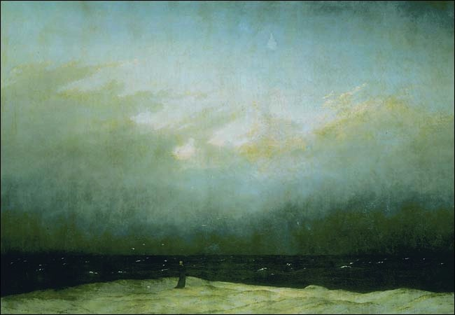 "Caspar David Friedrich, Monk by the Sea, c. 1809, oil on canvas, 43"" x 67 1/2"" / 110 x 171.5 cm (Nationalgalerie, Staatliche Museen, Berlin)"