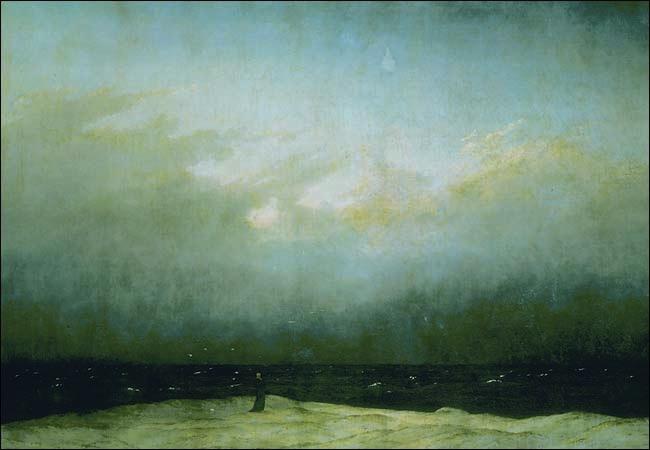 "Caspar David Friedrich, Monk by the Sea, c. 1809, oil on canvas, 43"" x 67 1/2"" / 110 x 171.5 cm (Nationalgalerie, Staatliche Museen, Berlin)"