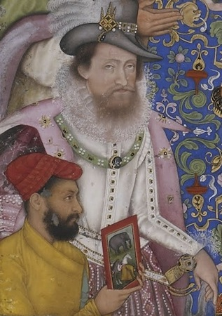 King James I of England (detail), Bichtir, Jahangir Preferring a Sufi Shaikh to Kings from the St. Petersburg Album, 1615-1618, opaque watercolor, gold and ink on paper, 180 x 253 cm (Freer|Sackler: The Smithsonian's Museums of Asian Art)
