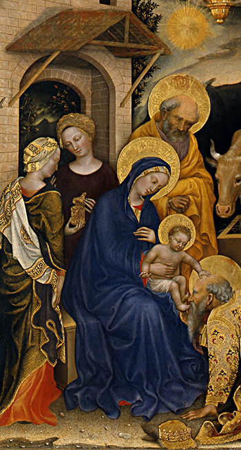 Two attendants, the Madonna and Christ Child and St. Joseph, Gentile da Fabriano, Adoration of the Magi, 1423, tempera on panel, 283 x 300 cm (Uffizi Gallery, Florence)
