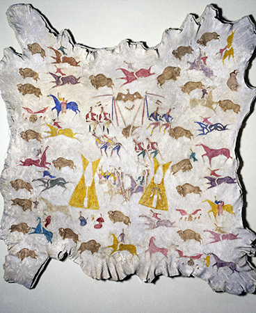 Attributed to Cotsiogo, Hide painting of the Sun Dance, c. 1890–1900, Eastern Shoshone, elk hide and pigment, approximately. 81 x 78 inches (Brooklyn Museum)