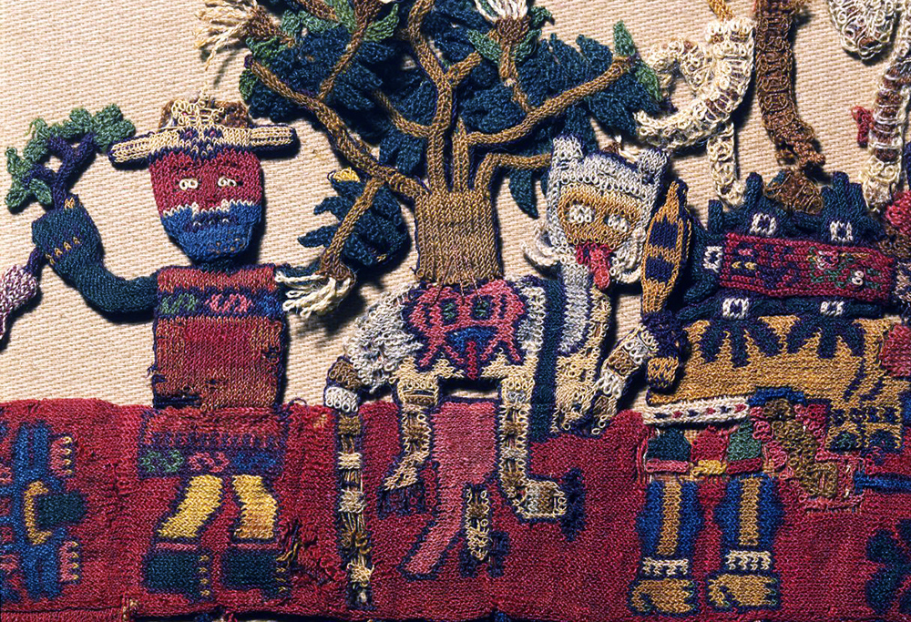 "Pampas cat and tree, boarder figure 3, Nasca, Mantle (""The Paracas Textile""), 100-300 C.E., cotton, camelid fiber, 58-1/4 x 24-1/2 inches / 148 x 62.2 cm, found South Coast, Paracas, Peru (Brooklyn Museum)"