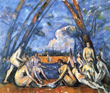 "Paul Cézanne, The Large Bathers, 1906, oil on canvas, 82 7⁄8 × 98 3⁄4"" (Philadelphia Museum of Art)"