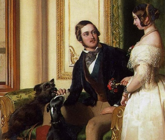 Prince Albert and Queen Victoria (detail), Sir Edwin Landseer, Windsor Castle in Modern Times; Queen Victoria, Prince Albert and Victoria, Princess Royal, 1840-43, oil on canvas, 113.3 x 144.5 cm (The Royal Collection)