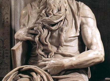 Michelangelo, Moses from the Tomb of Pope Julius II, c. 1513-1515, marble, 235 cm (San Pietro in Vincoli, Rome)