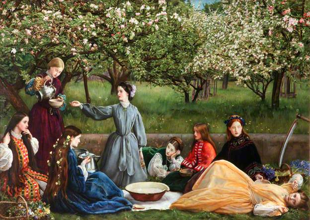 Sir John Everett Millais, Spring (Apple Blossoms), 1859-9, oil on canvas, 110.5 x 172.7 (Lady Lever Art Gallery, Liverpool)