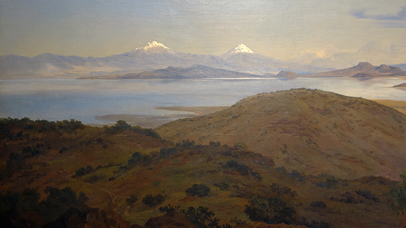 Volcanic peaks (detail), José María Velasco, The Valley of Mexico from the Santa Isabel Mountain Range (Valle de México desde el cerro de Santa Isabel),1875, oil on canvas, 137.5 x 226 cm (Museo Nacional de Arte, INBA, Mexico City)