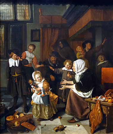 Jan Havicksz Steen, The Feast of St Nicholas, 1665-68, oil on canvas, 82 × 70.5 cm (Rijksmuseum, Amsterdam)