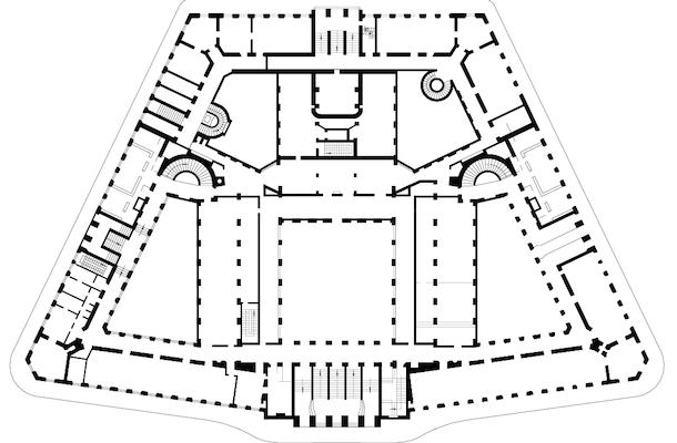 Plan, Otto Wagner, Postal Savings Bank, Vienna, 1904-06 and 1910-12 source
